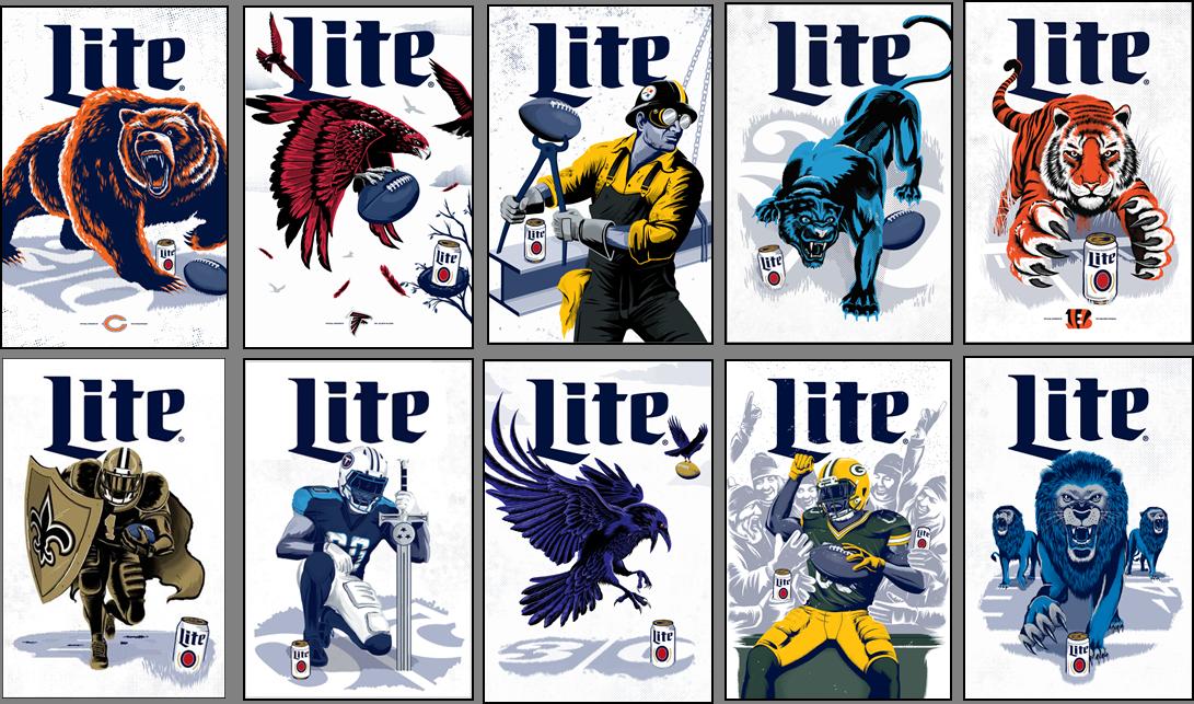 Miller Lite Custom Pro Football Illustrations Ready For