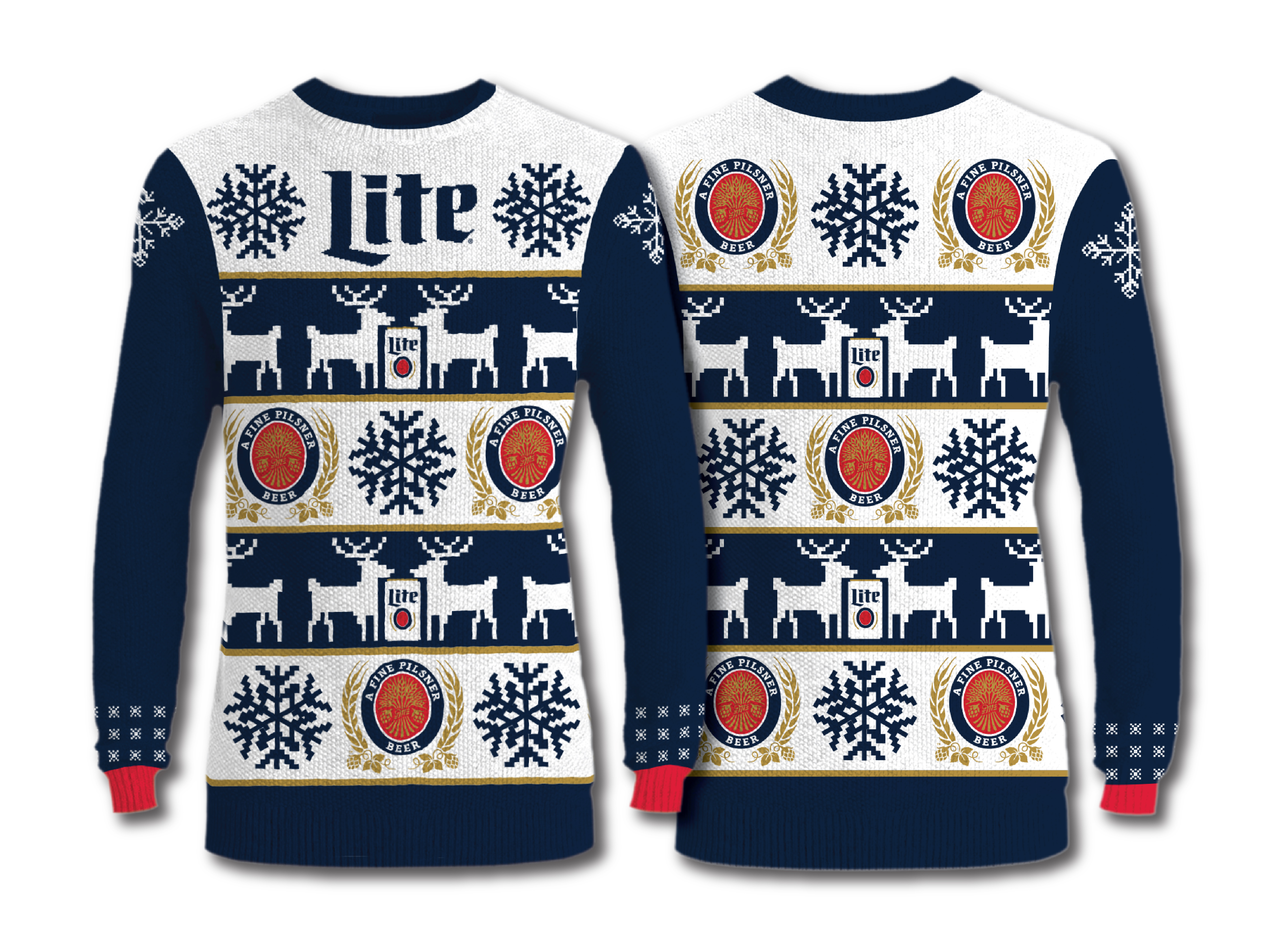 Beer Christmas Sweater.Miller Lite Gets Ugly For The Holidays Millercoors Behind