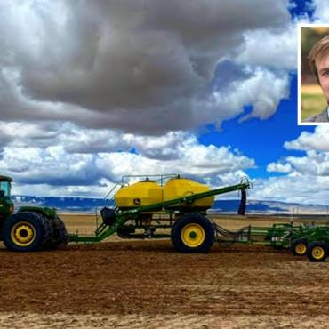 Lucas Spratling and harvester