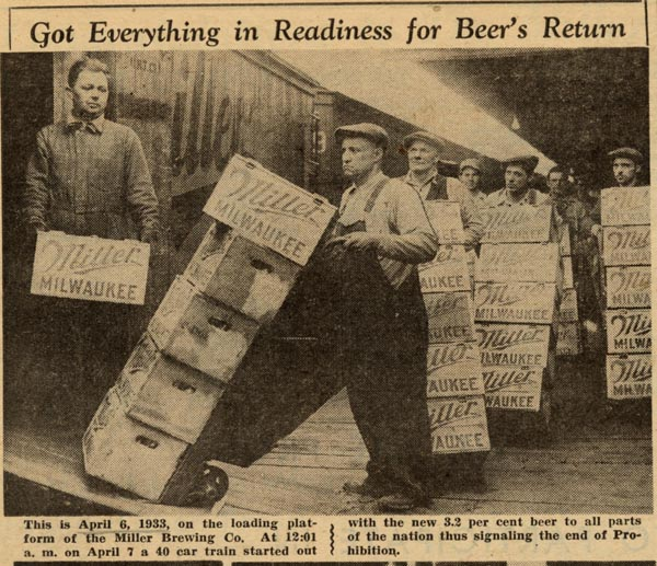 Miller Brewing Company (now part of MillerCoors) was definitely ready for the return of beer at 12:01AM on April 7, 1933.