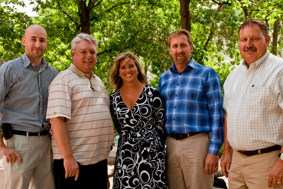 Pictured left to right: Tyler Shannon, EHS Specialist, Golden Brewery; Fred Linton, Environmental Engineer, Golden Brewery; Gail Falasco, Territory Manager, Waste Management; Scott Sutherland, Operations Manager, Otto Trucking; Alan Otto, CEO, Otto Trucking