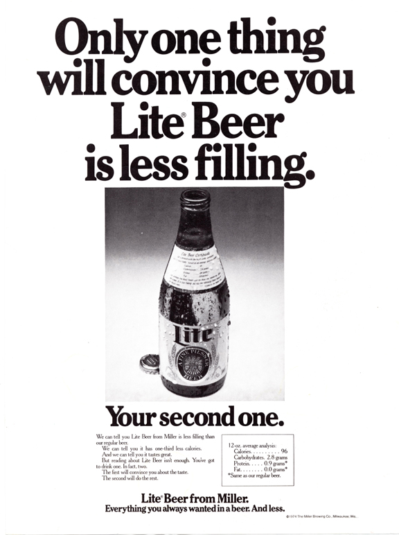 1974 Lite ad- MillerCoors Milwaukee Archives_sized