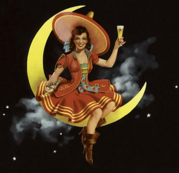 resized c. 1944 Miller Girl in the Moon- MillerCoors Milwaukee Archives