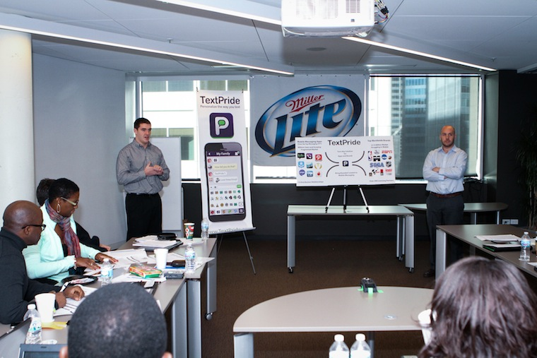 TextPride presenting at the Miller Lite Tap the Future Final Pitch
