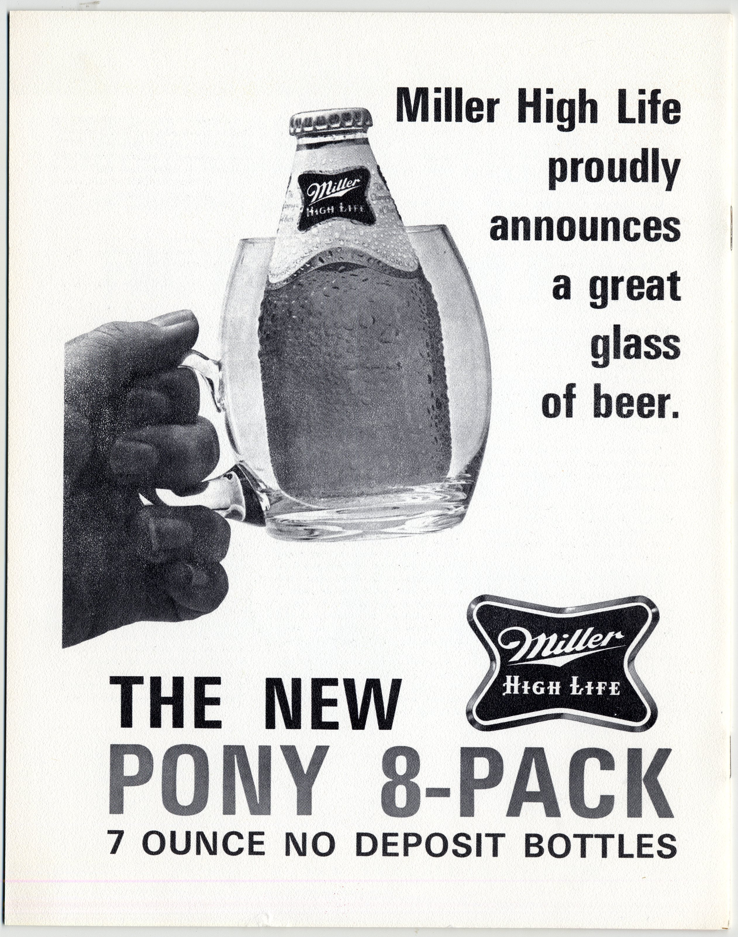 Miller High Life pony bottles ad 1972